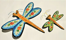 2x dragonfly hand painted Portuguese Ceramic pottery garden fence nature lovers