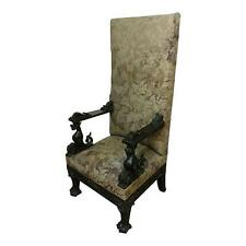 19th century High Back Tapestry Side Chair w/Highly Carved Dragons