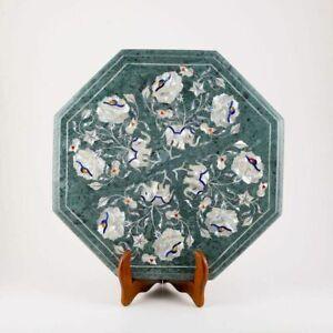 "12"" Marble corner Table Top Pietra Dura Semi Precious Stones work"