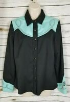 Scully Black Aqua Embroidered Western Shirt Pearl Snap Womens Medium Boots