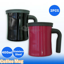 2 x Stainless Steel Coffee Mug Insulated Double Wall Drinking Cup Camping Bottle