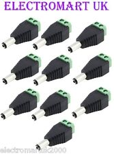 10 X DC CAMERA POWER PLUG 12V VOLT CCTV ADAPTOR CONNECTOR MALE 2.1MM