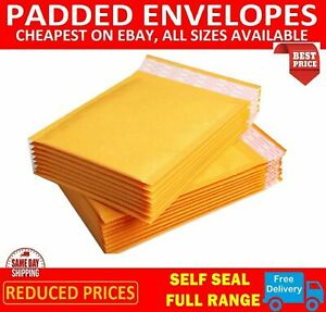 Gold Padded Envelopes Bubble Lined Envelopes MAIL Cheap Gold Yellow UK Seller