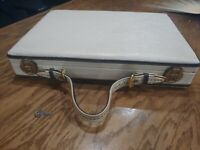 Vintage Excelsior Biege Womans Leather Briefcase with key