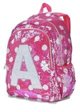 NWT Justice Girls Pink Polka Dot Flip Sequins Backpack SchooI Bag Initial Z