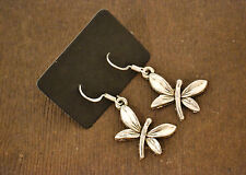 Silver Drop Earrings Cute Retro Butterfly