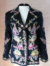 Hopeless Romantic Natalya Embroidered Jacket Blazer sz S Black Floral Multicolor
