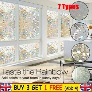 3D Window Glass Film Sticker Stained Anti UV Self-adhesive Rainbow Sticker UK
