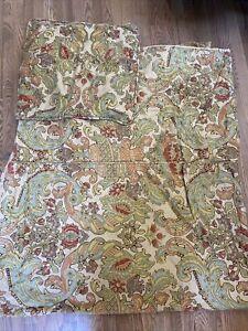 Pottery Barn Simone Tan Jacobean Floral Paisley Linen Blend King Duvet  + Sham
