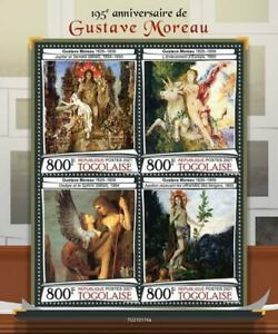 Togo 2021 MNH Art Stamps Gustave Moreau Nudes Nude Paintings 4v M/S