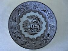 Antique Ironstone Historic Black Transfer Plate Sketch By Thomas Hughes 1856