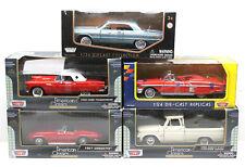 5pc Motormax 1:24 Diecast American Classic Cars Vette+T-Bird+Chevy C10 PU+Impala