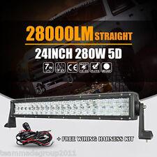 "5D Cree 280W 22inch 24"" LED Light Bar Spot Flood Offroad Car Lamp Pickup SUV UTE"