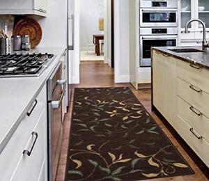 Modern Runner Rug w Non Skid Rubber Backing Leaves Design Hall Area Home Decor