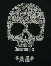 JAGERMEISTER Sugar Skull T Shirt MEDIUM Black 100% Cotton Floral Promo