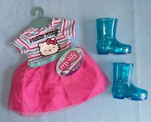 """My Life As Hello Kitty Pink Tulle Dress & Blue Rain Boots Set for 18"""" Dolls NEW"""