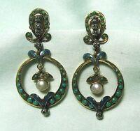Antique 14K – 16K Gold Earrings w Diamonds Pearl Turquoise Enamel 12.4 grams