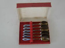 VINTAGE SET OF 6 GOLD PLATED AND TURQUOISE HAND PAINTED HANDLES TEASPOON SET