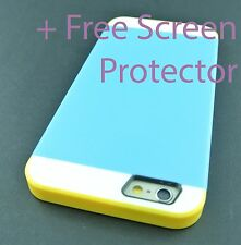 """BLUE YELLOW MULTI TONE HYBRID SKIN CASE COVER FOR APPLE IPHONE 6 6S 4.7"""" INCH"""