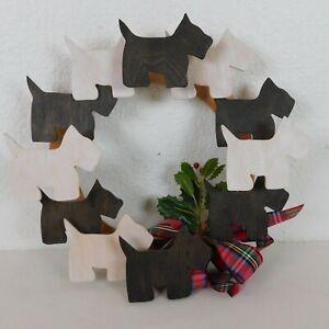Scottie Dog Scottish Terrier Wood Wreath Black White Plaid Ribbon Bow Holly FLAW