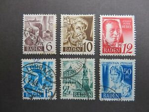 Baden Germany 1948. Currency Reform. SG FB15/16/17/18/19/21. Used.