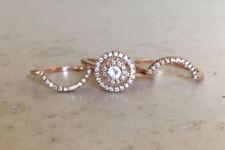 2 Ct Diamond Wedding Trio Ring Set & Diamond Halo Cluster 14K Rose Gold Over