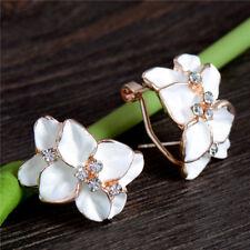 Elegant Women's Jewelry 1 pair Sparkling Flower Crystal Hoop Earrings Clip-on