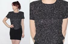 Vintage 1990's 100% SILK Black Silver FLORAL EMBROIDERED BEADED EVENING Top 8