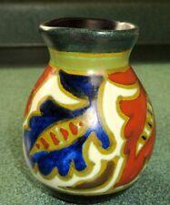 Art Deco Gouda Holland Miniature Pottery Vase Rosevil Pattern Signed 1920s