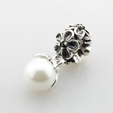 European Pandor Sterling Silver Charm garden odyssey, white pearl & black cz