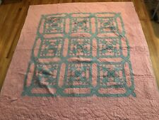 New listing Pink & Green Quilt Hand Stitched & Batted Cotton 78 X 74