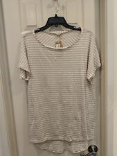Cremieux Women's Beige Stripe Linen Pullover Shell Tunic Sz M NWT $69