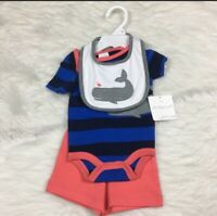 NEW Starting Out Baby Infant Newborn Boy's Layette Set Outfit Whale Bib Nautical