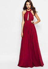 Womens Red Open Back Maxi Dress Keyhole Sleeveless Full Length Ball Gown Evening