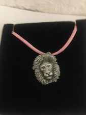 Lion R56 Pewter Pendant on a PINK CORD Necklace