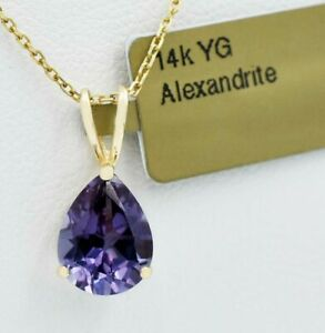 ALEXANDRITE 2.30 Cts PENDANT 14k Yellow Gold * NEW WITH TAG * Made in USA