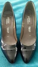 JOSHUA Fine Elegance Black Patent Leather Pumps High Heels Size 7 Hand Made
