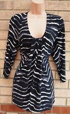 PLANET LYCRA FEEL BLACK WHITE ABSTRACT STRIPE KNOT BAGGY BLOUSE TUNIC TOP XL