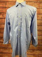 Brooks Brothers 346 Blue Striped Button Down LS Dress Shirt Mens Size L 16.5-2/3