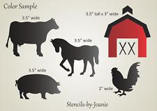 Joanie Country Stencil Farm Animals Horse Pig Cow Chicken Barn Ranch Western Art