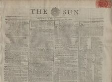 """RARE ORIGINAL NEWSPAPER """"THE SUN"""" (24 September 1800) DEATH FOR STEALING SILKS"""