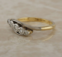 Vintage 18ct yellow gold platinum diamond 5 stone ring size L