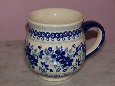 Genuine Unikat Polish Pottery 16 oz. Bubble Mug! Rembrandt in Blue Pattern!