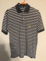 Brooks Brothers Navy blue Gray stripe polo short sleeve logo shirt men's S