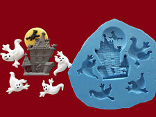 Halloween Haunted House Ghosts silicone mould Set cake decorating sugarcraft