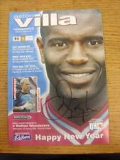 01/01/2003 Aston Villa v Bolton Wanderers [Hand Signed In Black Marker On Front
