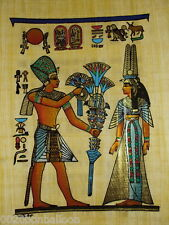 "Original Hand Painetd Papyrus 8""X12"" (20x30cm)  King Tut Offer Flower To Wife"