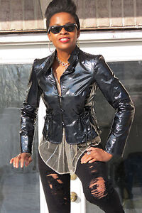 New Designer Armani Collezioni Black Lambskin Patent leather Jacket  coat S 0-4