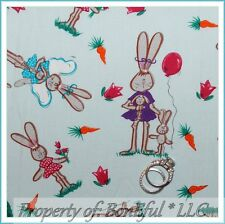 BonEful Fabric FQ Cotton Quilt Blue Easter Bunny White Pink Balloon Flower Angel
