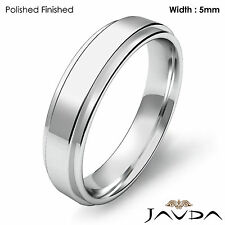 Flat Step Solid Ring Men Wedding Plain Band 5mm 14k White Gold 5.5gm Size 9-9.75